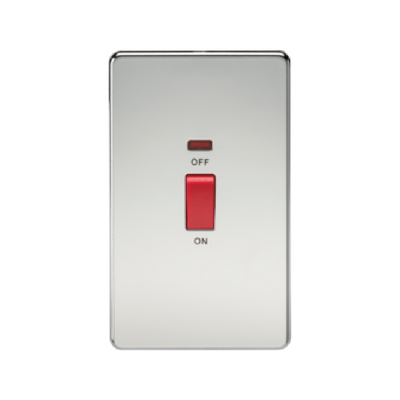 Knightsbridge Screwless 2 Gang 45A Cooker Switch With Neon - Polished Chrome