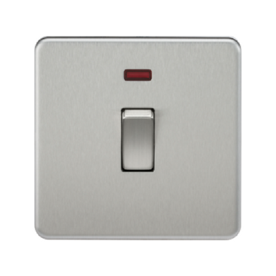 Knightsbridge Screwless 20A 1 Gang Double Pole Switch With Neon - Brushed Chrome