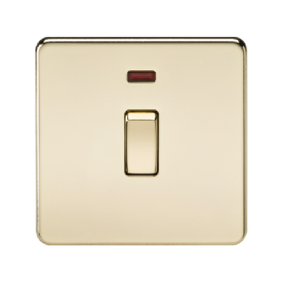 Knightsbridge Screwless 20A 1 Gang Double Pole Switch With Neon - Polished Brass