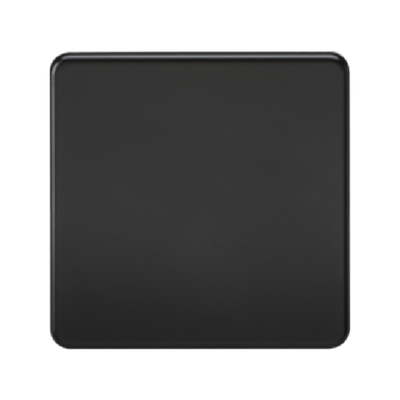Knightsbridge Screwless 1 Gang Blanking Plate - Matt Black