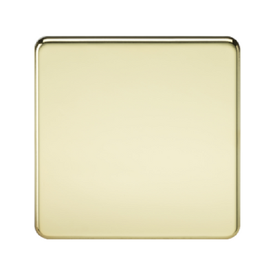 Knightsbridge Screwless 1 Gang Blanking Plate - Polished Brass