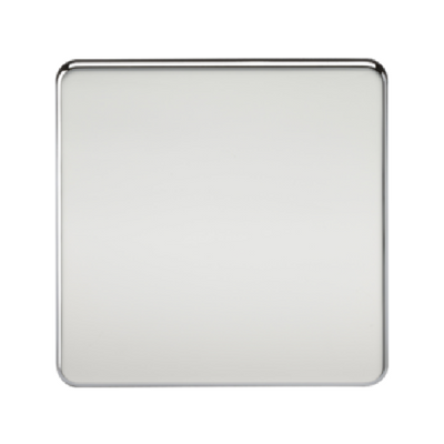 Knightsbridge Screwless 1 Gang Blanking Plate - Polished Chrome