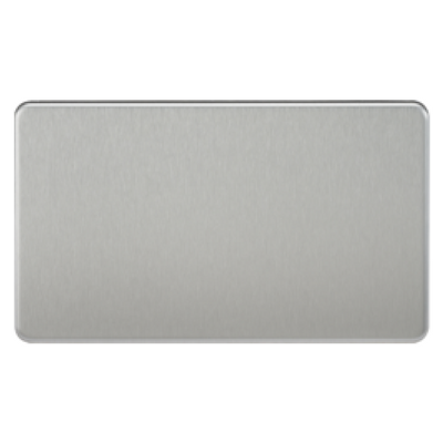 Knightsbridge Screwless 2 Gang Blanking Plate - Brushed Chrome