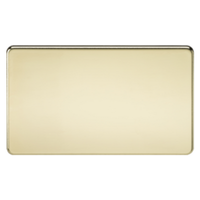 Knightsbridge Screwless 2 Gang Blanking Plate - Polished Brass