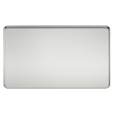 Knightsbridge Screwless 2 Gang Blanking Plate - Polished Chrome