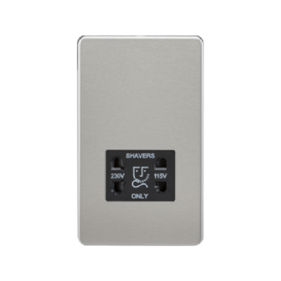Knightsbridge Screwless 115V/230V Dual Voltage Shaver Socket - Brushed Chrome