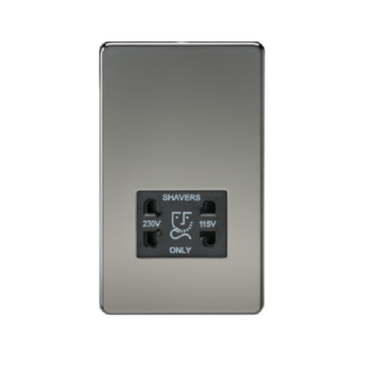 Knightsbridge Screwless 115V/230V Dual Voltage Shaver Socket - Black Nickel