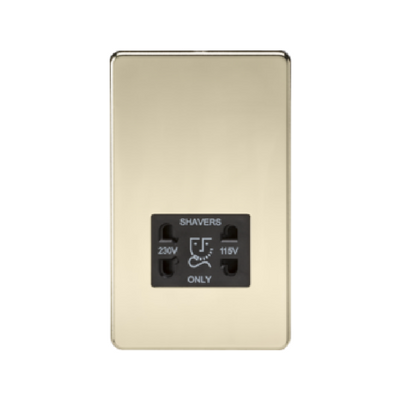 Knightsbridge Screwless 115V/230V Dual Voltage Shaver Socket - Polished Brass
