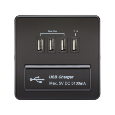 Knightsbridge Screwless 5V 5.1A Quad USB Charging Outlet - Matt Black