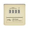 Knightsbridge Screwless 5V 5.1A Quad USB Charging Outlet - Polished Brass