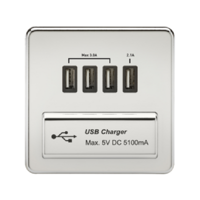 Knightsbridge Screwless 5V 5.1A Quad USB Charging Outlet - Polished Chrome
