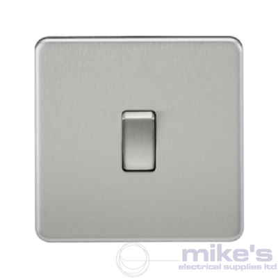 Knightsbridge Screwless 10A 1 Gang Intermediate Switch - Brushed Chrome