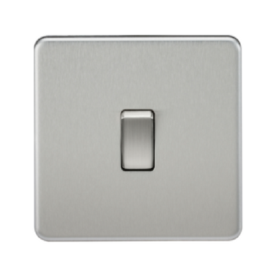 Knightsbridge Screwless 10A 1 Gang 2 Way Switch - Brushed Chrome