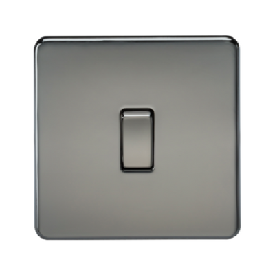 Knightsbridge Screwless 10A 1 Gang 2 Way Switch - Black Nickel