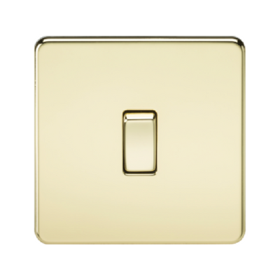 Knightsbridge Screwless 10A 1 Gang 2 Way Switch - Polished Brass