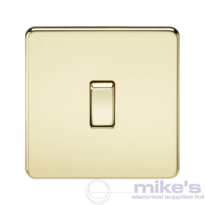 Knightsbridge Screwless 10A 1 Gang Intermediate Switch - Polished Brass