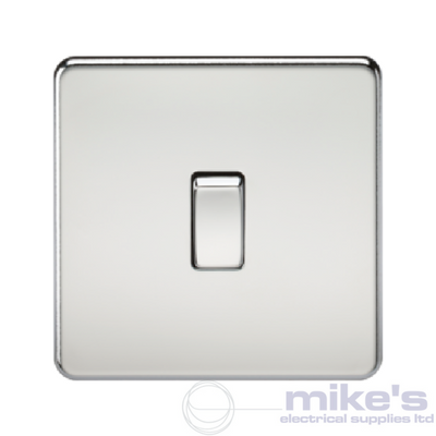 Knightsbridge Screwless 10A 1 Gang Intermediate Switch - Polished Chrome