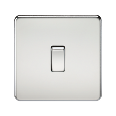 Knightsbridge Screwless 10A 1 Gang 2 Way Switch - Polished Chrome