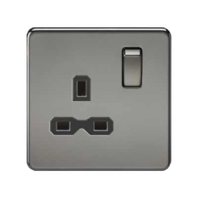 Knightsbridge Screwless 13A 1 Gang Switched Socket - Black Nickel