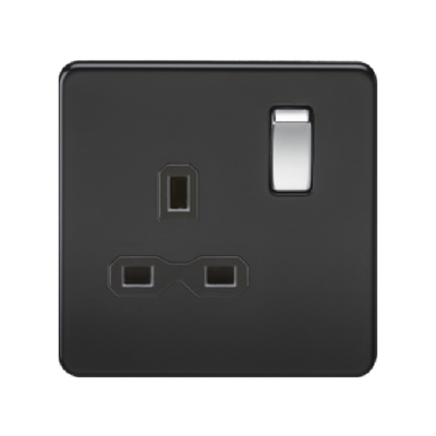 Knightsbridge Screwless 13A 1 Gang Switched Socket - Matt Black