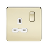 Knightsbridge Screwless 13A 1 Gang Switched Socket - Polished Brass