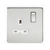 Knightsbridge Screwless 13A 1 Gang Switched Socket - Polished Chrome