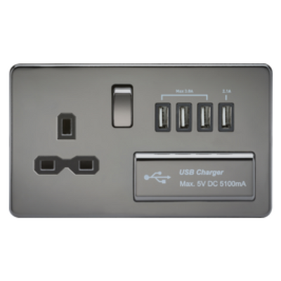 Knightsbridge Screwless 13A 1 Gang Switched Socket With Quad USB Outlet - Black Nickel