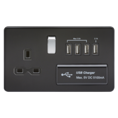 Knightsbridge Screwless 13A 1 Gang Switched Socket With Quad USB Outlet - Matt Black
