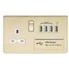 Knightsbridge Screwless 13A 1 Gang Switched Socket With Quad USB Outlet - Polished Brass