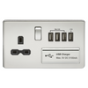 Knightsbridge Screwless 13A 1 Gang Switched Socket With Quad USB Outlet - Polished Chrome
