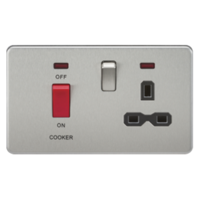 Knightsbridge Screwless 45A Cooker Switch With 13A Switched Socket - Brushed Chrome