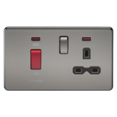 Knightsbridge Screwless 45A Cooker Switch With 13A Switched Socket - Black Nickel