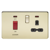 Knightsbridge Screwless 45A Cooker Switch With 13A Switched Socket - Polished Brass
