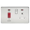 Knightsbridge Screwless 45A Cooker Switch With 13A Switched Socket - Polished Chrome
