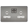 Knightsbridge Screwless 13A 2 Gang Switched Socket - Black Nickel
