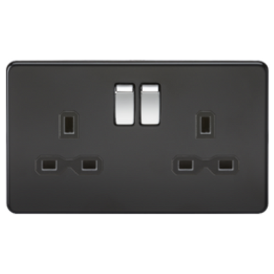 Knightsbridge Screwless 13A 2 Gang Switched Socket - Matt Black