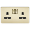 Knightsbridge Screwless 13A 2 Gang Switched Socket - Polished Brass