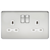 Knightsbridge Screwless 13A 2 Gang Switched Socket - Polished Chrome