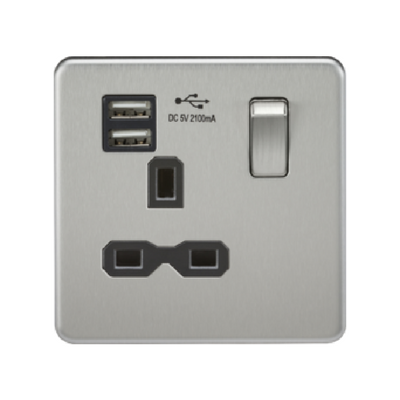 Knightsbridge Screwless 13A 1 Gang Dual USB Port Switched Socket - Brushed Chrome