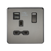 Knightsbridge Screwless 13A 1 Gang Dual USB Port Switched Socket - Black Nickel