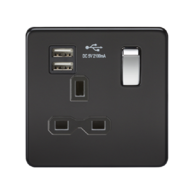 Knightsbridge Screwless 13A 1 Gang Dual USB Port Switched Socket - Matt Black