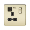 Knightsbridge Screwless 13A 1 Gang Dual USB Port Switched Socket - Polished Brass