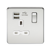 Knightsbridge Screwless 13A 1 Gang Dual USB Port Switched Socket - Polished Chrome