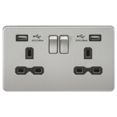Knightsbridge Screwless 13A 2 Gang 2 USB Port Switched Socket - Brushed Chrome
