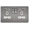 Knightsbridge Screwless 13A 2 Gang 2 USB Port Switched Socket - Black Nickel