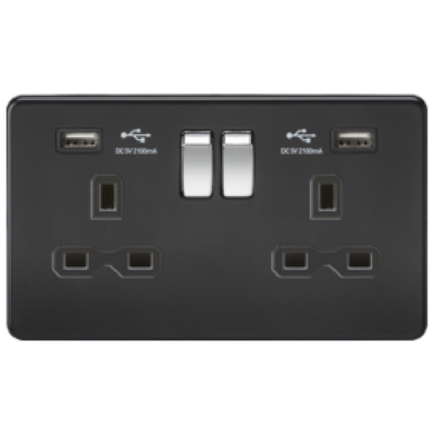 Knightsbridge Screwless 13A 2 Gang 2 USB Port Switched Socket - Matt Black