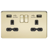 Knightsbridge Screwless 13A 2 Gang 2 USB Port Switched Socket - Polished Brass