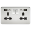 Knightsbridge Screwless 13A 2 Gang 2 USB Port Switched Socket - Polished Chrome
