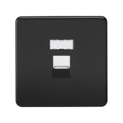 Knightsbridge Screwless RJ45 Network Outlet - Matt Black