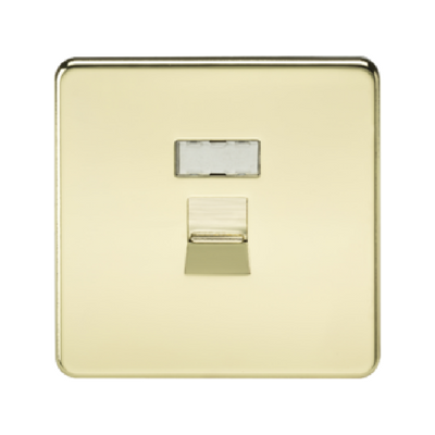 Knightsbridge Screwless RJ45 Network Outlet - Polished Brass